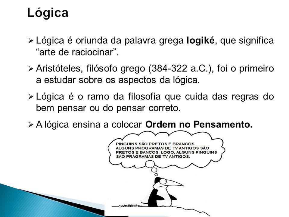 Lógica Lógica é oriunda da palavra grega logiké, que significa arte de raciocinar .