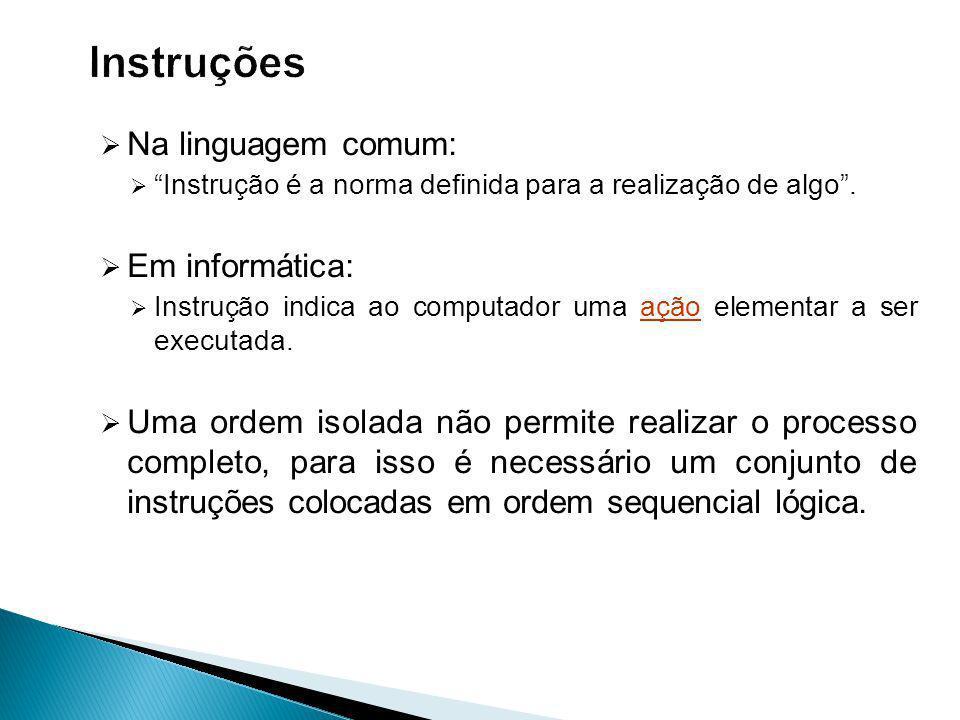 Instruções Na linguagem comum: Em informática: