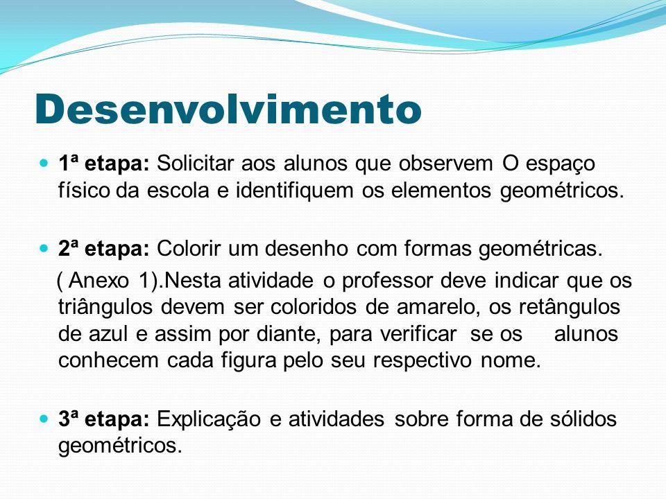 Desenvolvimento 1ª etapa: Solicitar aos alunos que observem O espaço físico da escola e identifiquem os elementos geométricos.