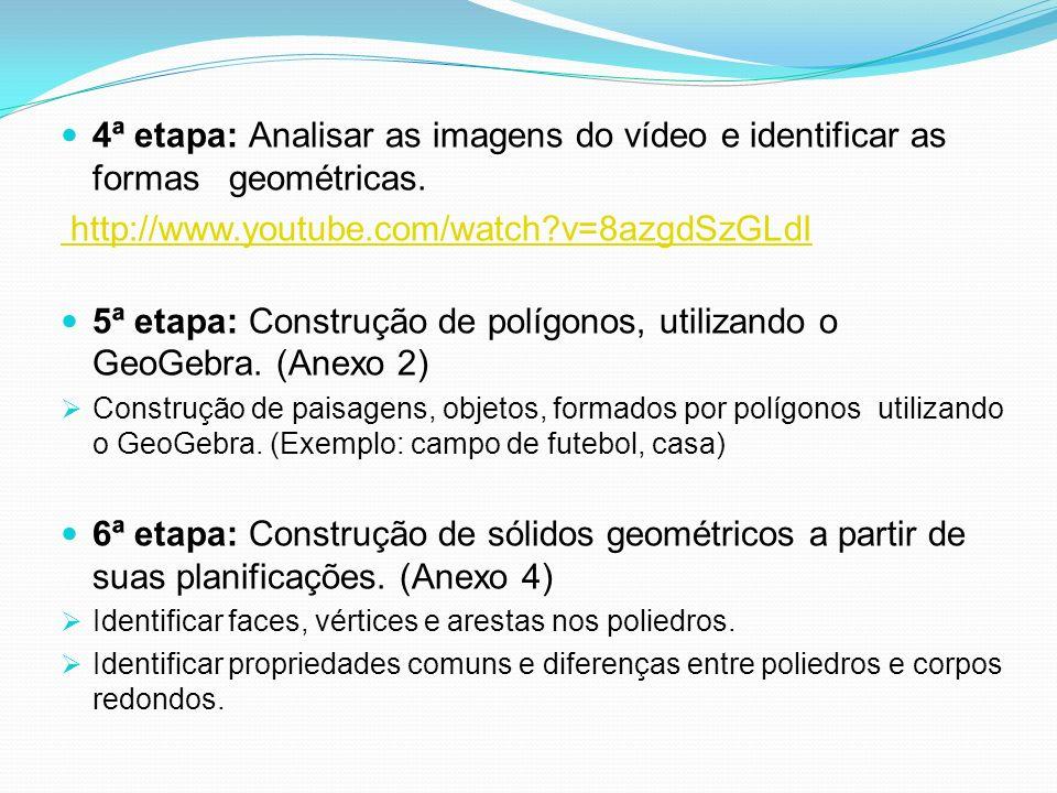 5ª etapa: Construção de polígonos, utilizando o GeoGebra. (Anexo 2)