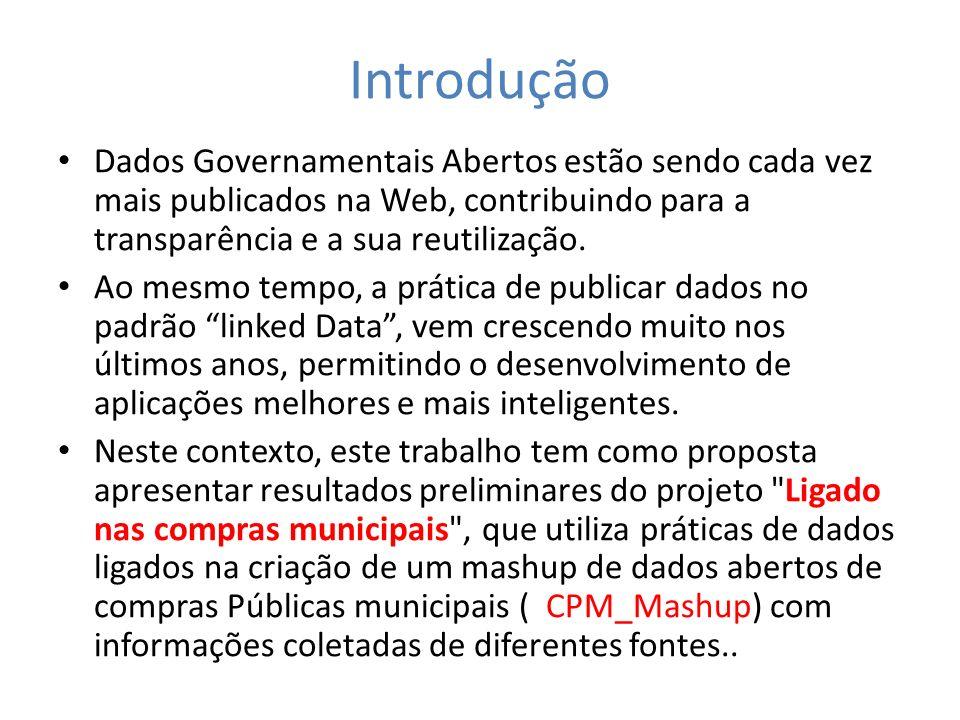 Introdução Dados Governamentais Abertos estão sendo cada vez mais publicados na Web, contribuindo para a transparência e a sua reutilização.