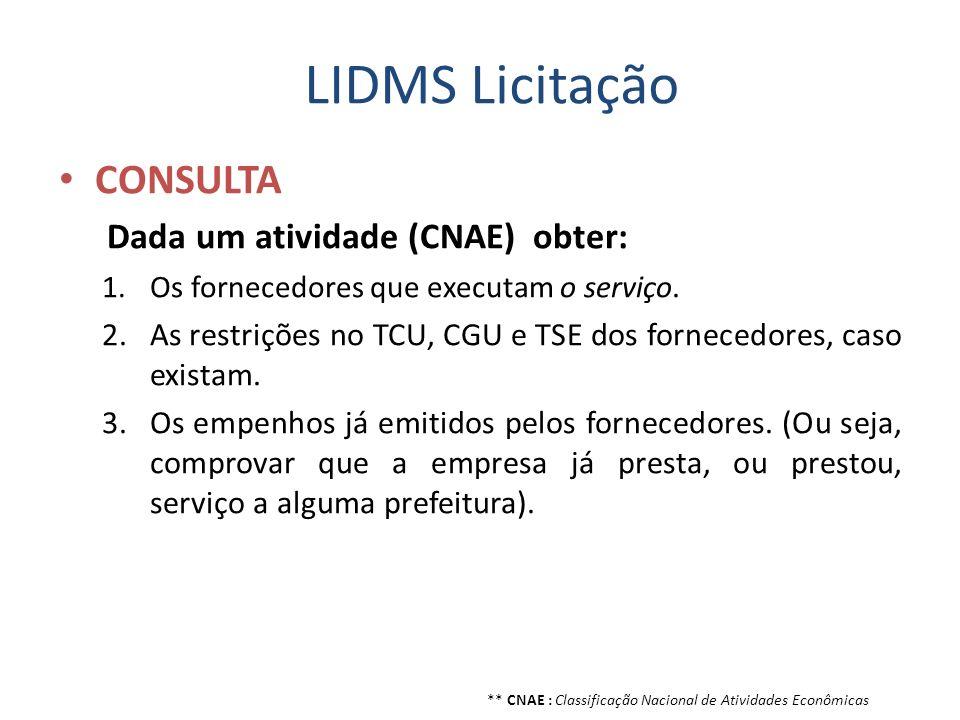 LIDMS Licitação CONSULTA Dada um atividade (CNAE) obter: