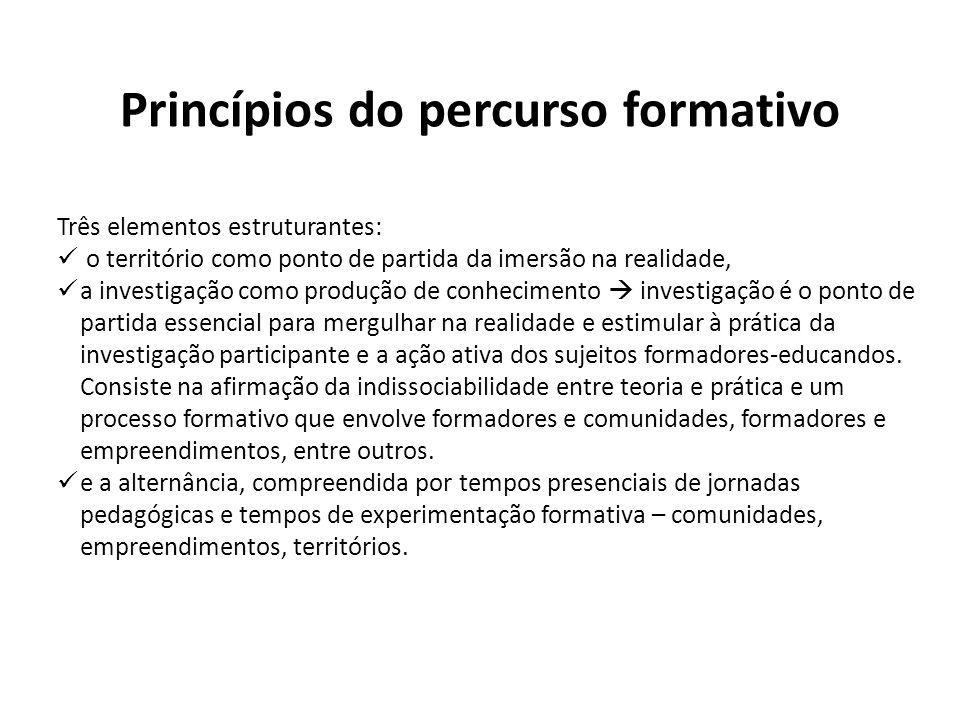 Princípios do percurso formativo