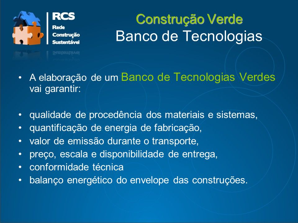 Construção Verde Banco de Tecnologias