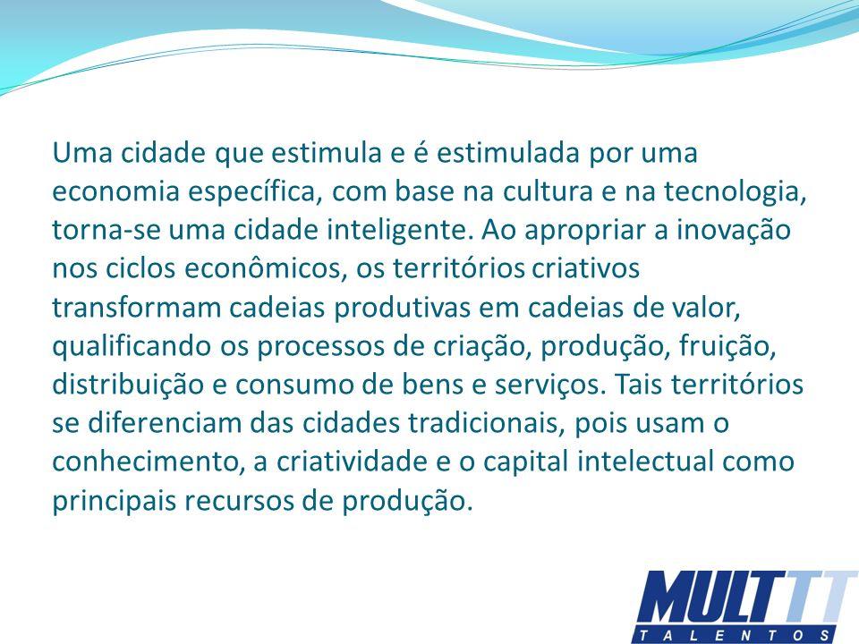Uma cidade que estimula e é estimulada por uma economia específica, com base na cultura e na tecnologia, torna-se uma cidade inteligente.