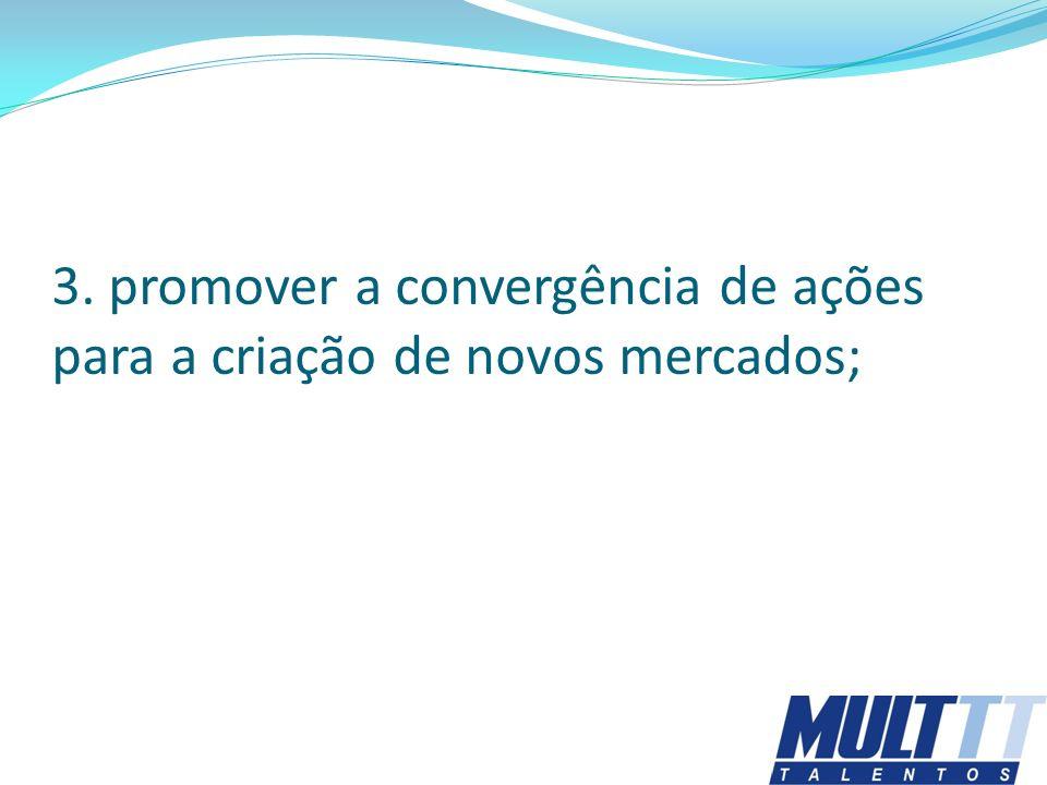 3. promover a convergência de ações para a criação de novos mercados;