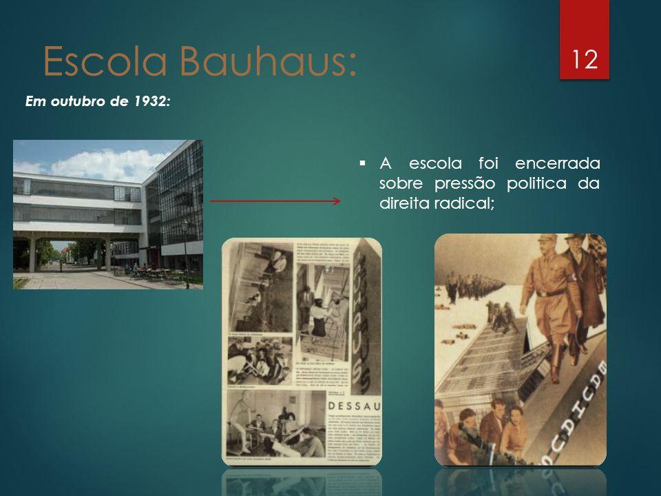 Escola Bauhaus: Em outubro de 1932: A escola foi encerrada sobre pressão politica da direita radical;