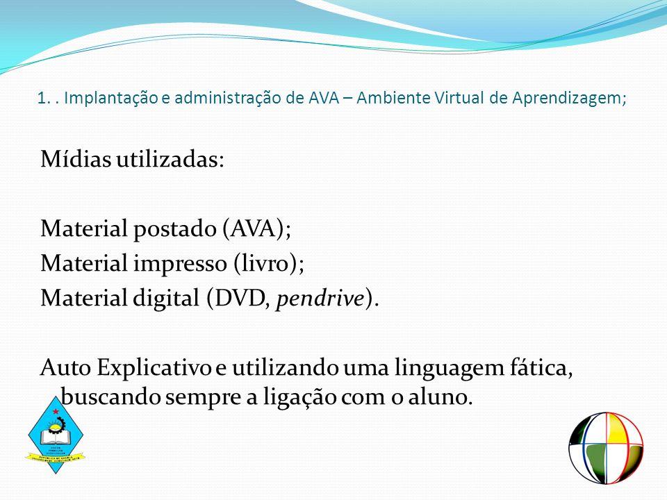 1. . Implantação e administração de AVA – Ambiente Virtual de Aprendizagem;