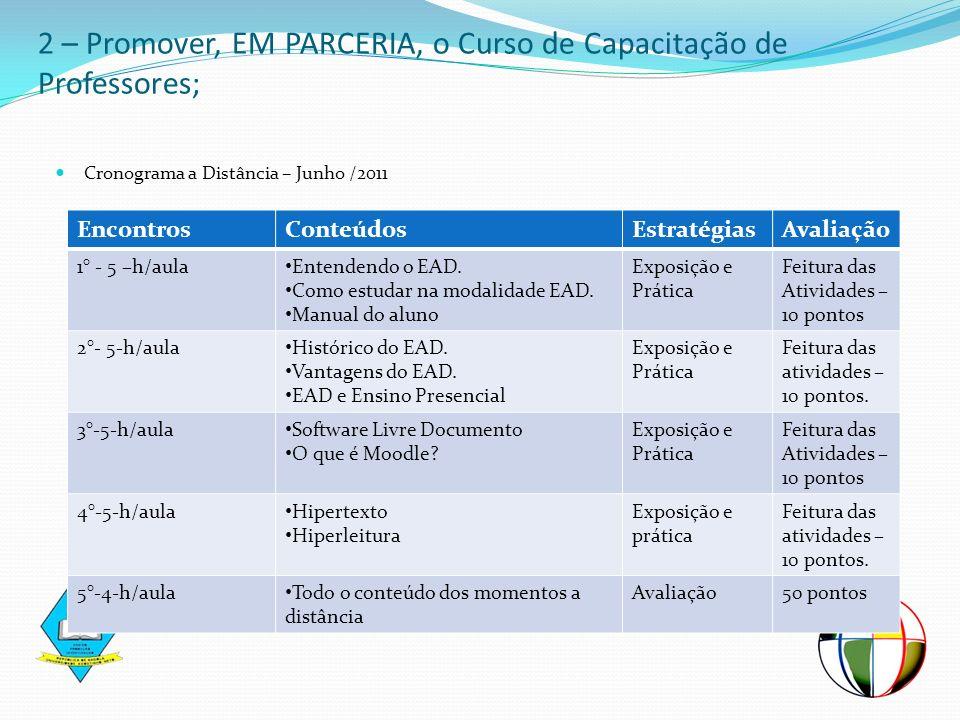2 – Promover, EM PARCERIA, o Curso de Capacitação de Professores;