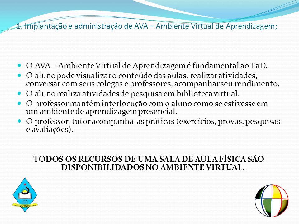 1. Implantação e administração de AVA – Ambiente Virtual de Aprendizagem;