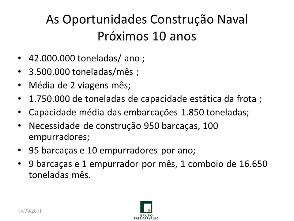 As Oportunidades Construção Naval Próximos 10 anos