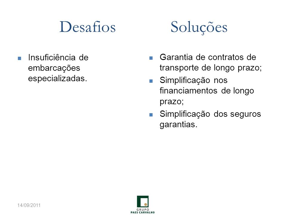 Desafios Soluções Garantia de contratos de transporte de longo prazo;