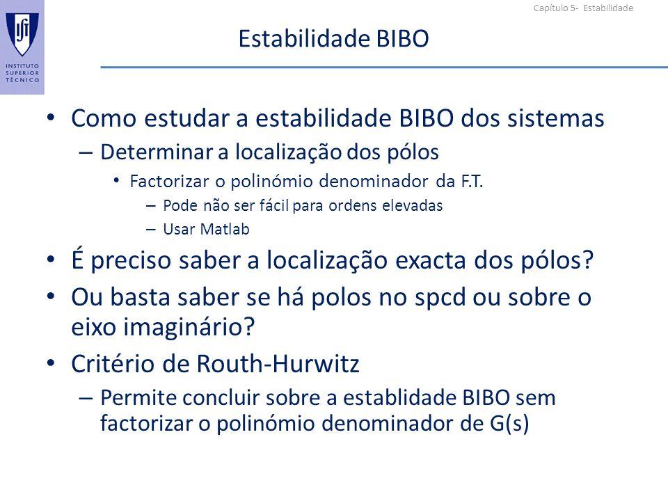 Como estudar a estabilidade BIBO dos sistemas