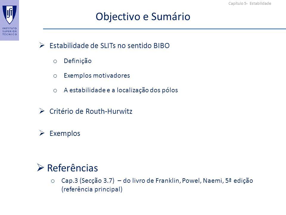 Objectivo e Sumário Referências Estabilidade de SLITs no sentido BIBO