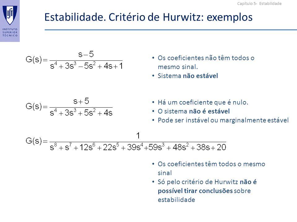Estabilidade. Critério de Hurwitz: exemplos