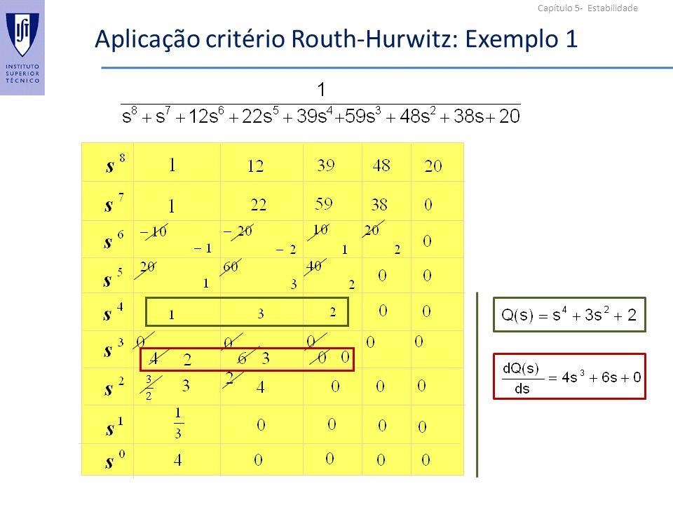 Aplicação critério Routh-Hurwitz: Exemplo 1