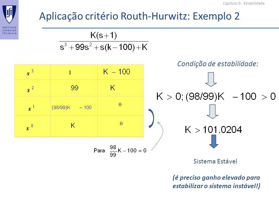 Aplicação critério Routh-Hurwitz: Exemplo 2