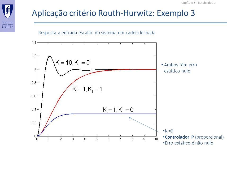 Aplicação critério Routh-Hurwitz: Exemplo 3