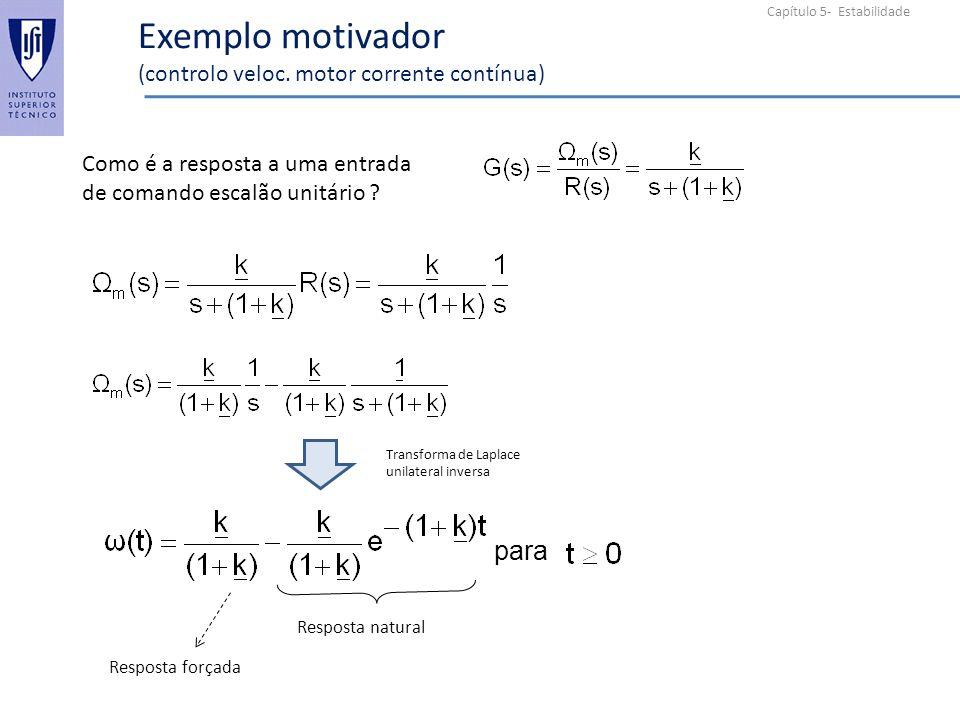 Exemplo motivador (controlo veloc. motor corrente contínua)