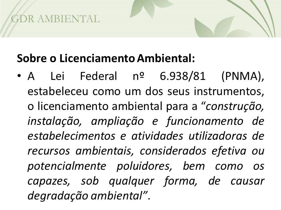 Sobre o Licenciamento Ambiental: