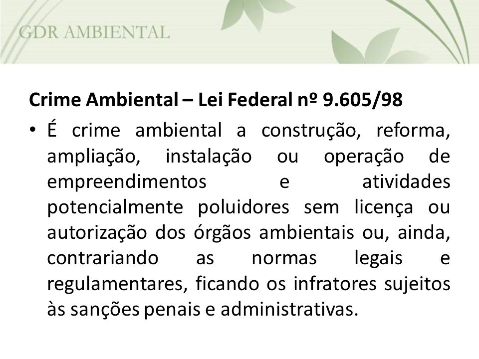 Crime Ambiental – Lei Federal nº 9.605/98
