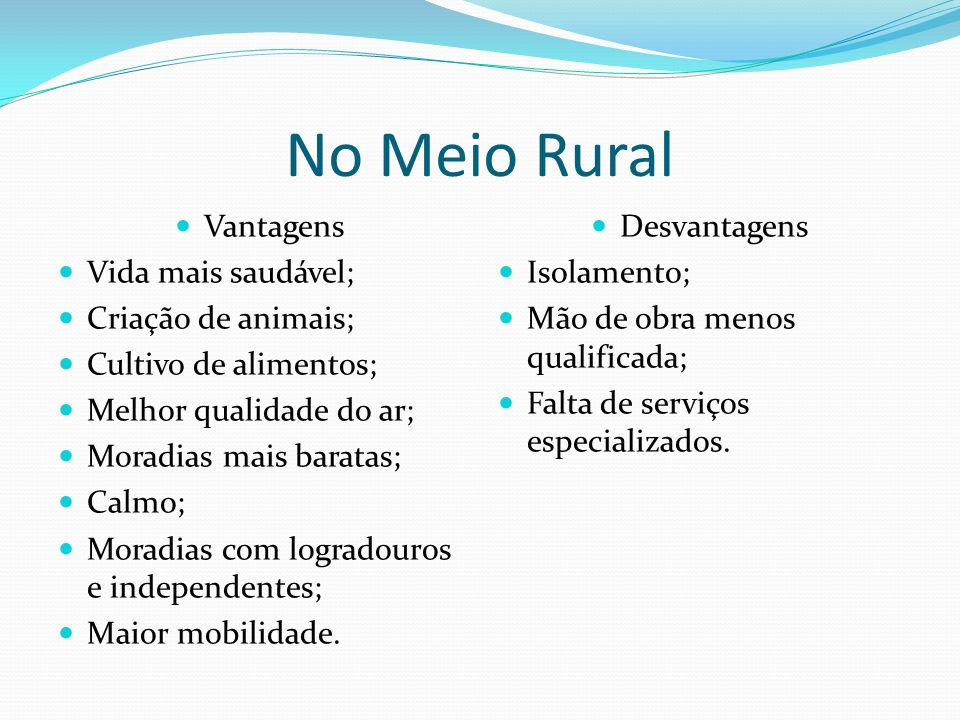 No Meio Rural Vantagens Vida mais saudável; Criação de animais;