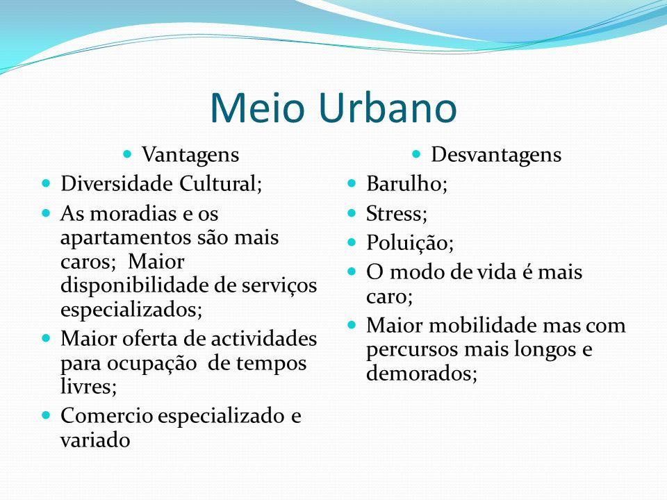 Meio Urbano Vantagens Diversidade Cultural;
