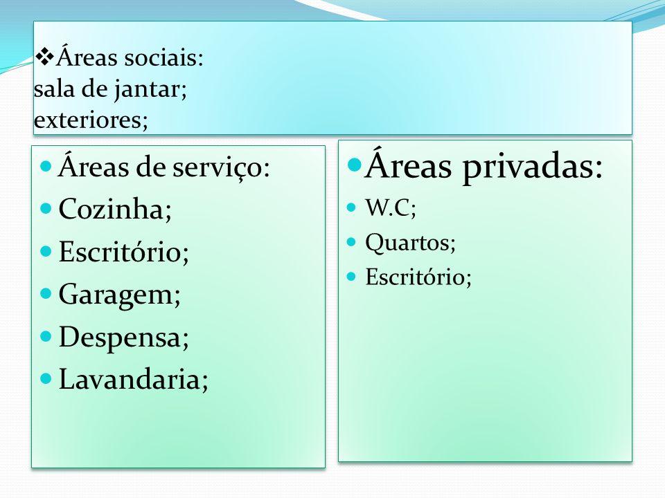 Áreas sociais: sala de jantar; exteriores;