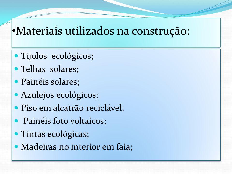Materiais utilizados na construção: