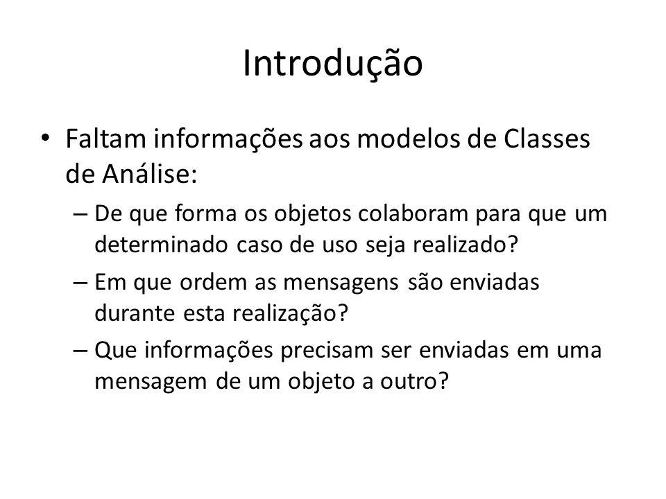Introdução Faltam informações aos modelos de Classes de Análise: