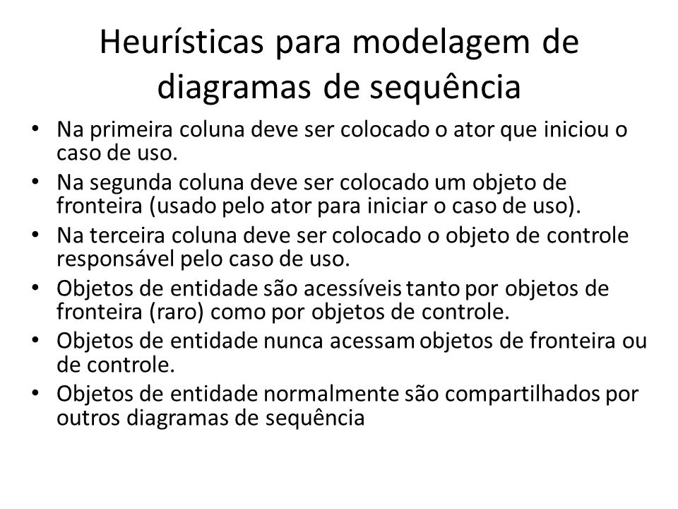 Heurísticas para modelagem de diagramas de sequência