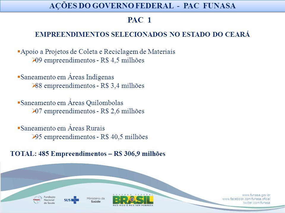 AÇÕES DO GOVERNO FEDERAL - PAC FUNASA PAC 1