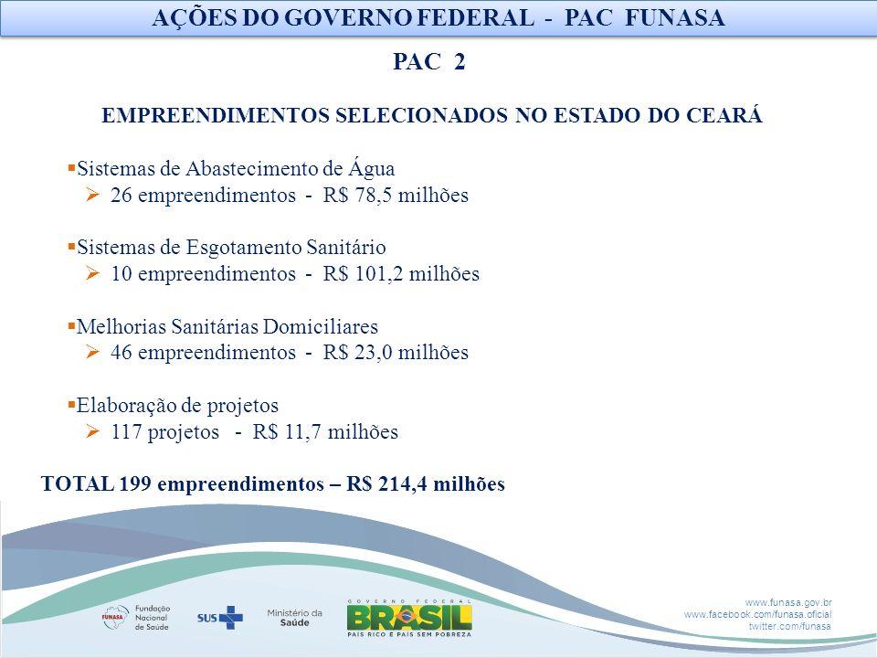 AÇÕES DO GOVERNO FEDERAL - PAC FUNASA PAC 2
