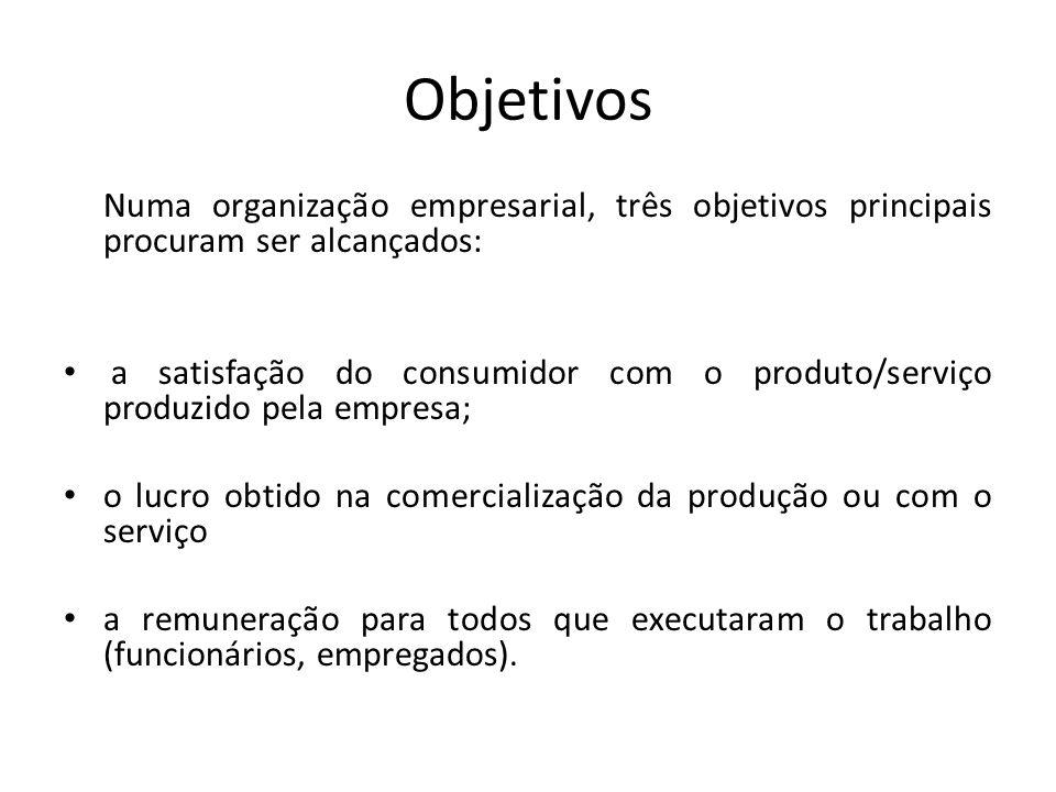 Objetivos Numa organização empresarial, três objetivos principais procuram ser alcançados: