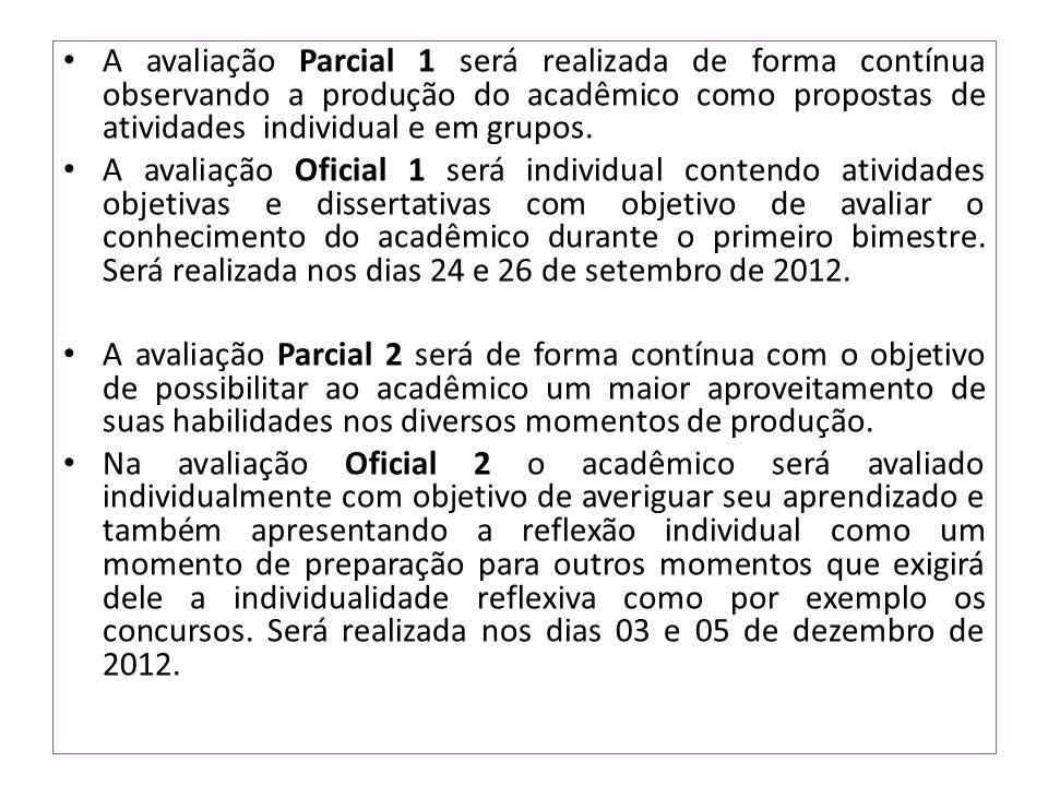A avaliação Parcial 1 será realizada de forma contínua observando a produção do acadêmico como propostas de atividades individual e em grupos.