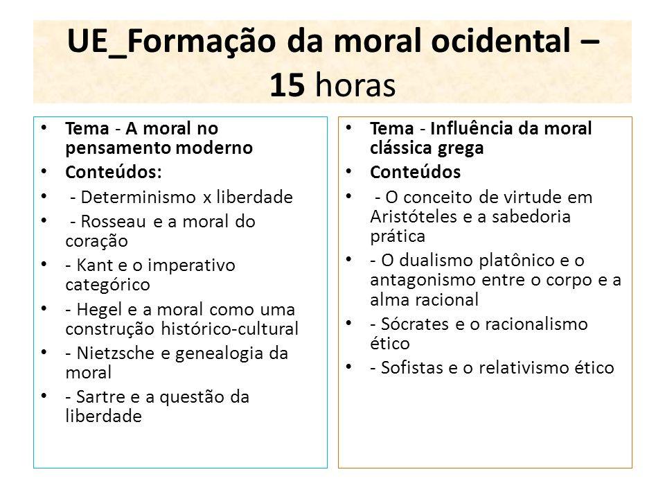 UE_Formação da moral ocidental – 15 horas