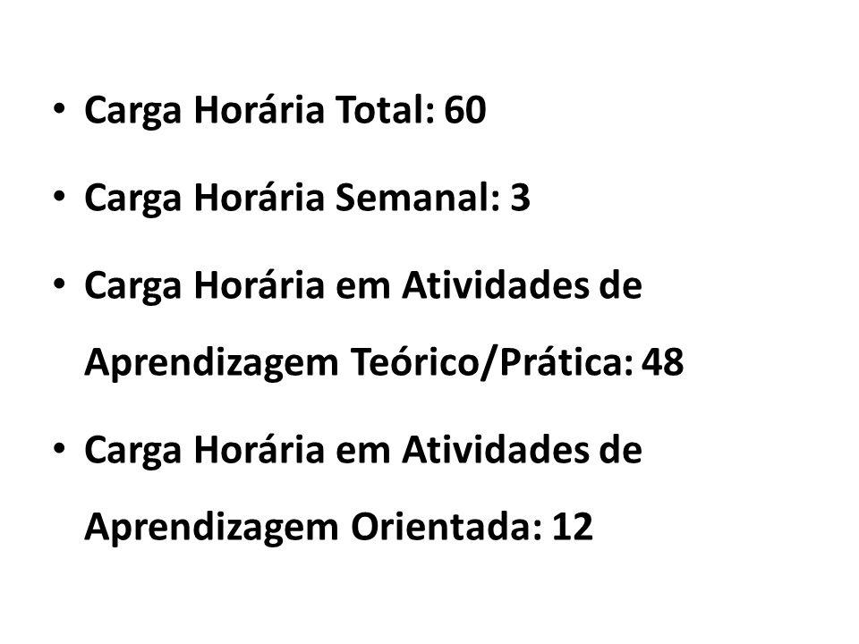 Carga Horária Total: 60 Carga Horária Semanal: 3. Carga Horária em Atividades de Aprendizagem Teórico/Prática: 48.