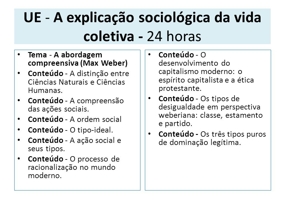 UE - A explicação sociológica da vida coletiva - 24 horas