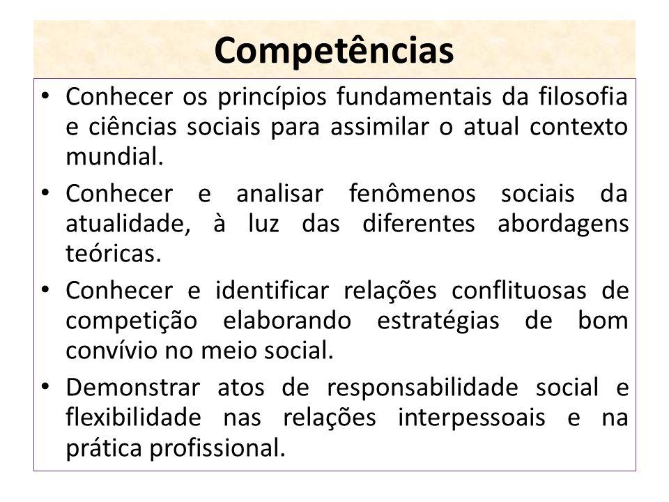 Competências Conhecer os princípios fundamentais da filosofia e ciências sociais para assimilar o atual contexto mundial.