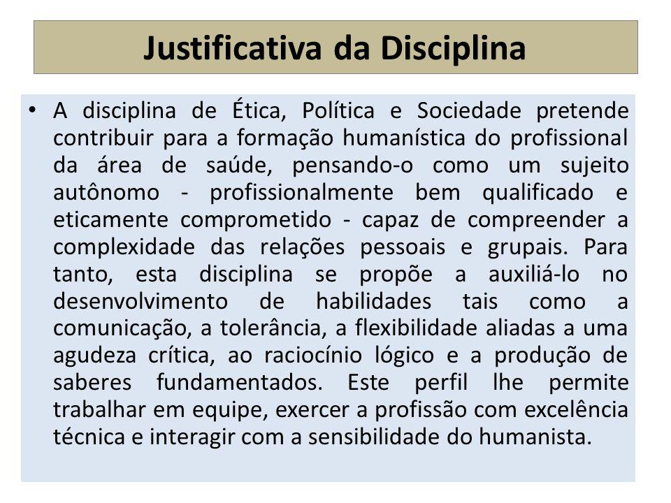 Justificativa da Disciplina