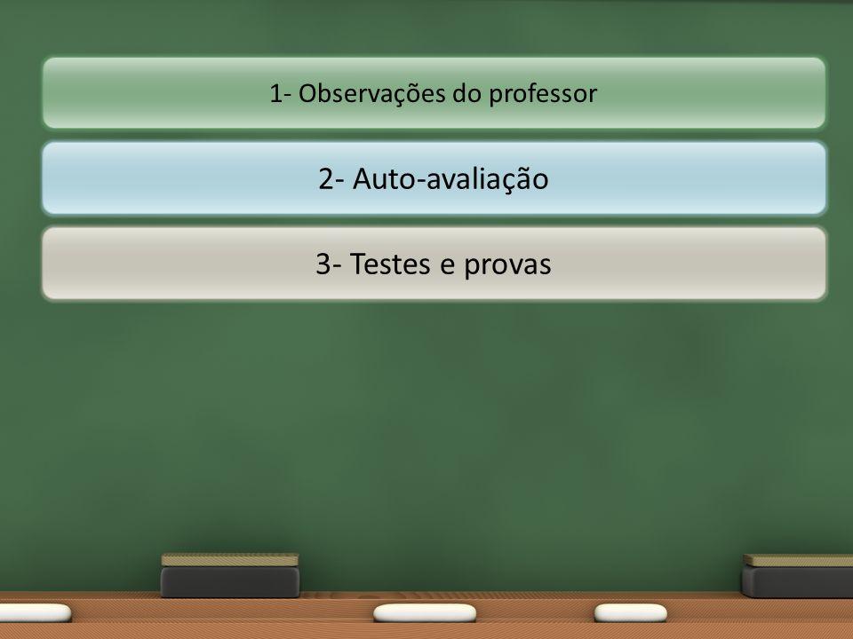 1- Observações do professor