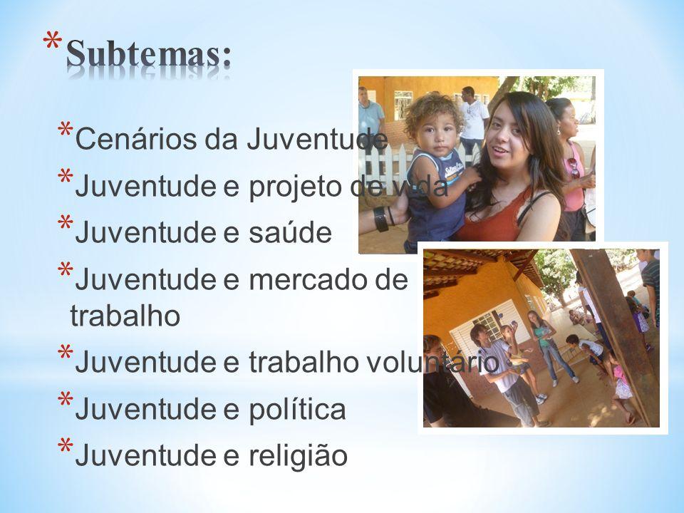 Subtemas: Cenários da Juventude Juventude e projeto de vida