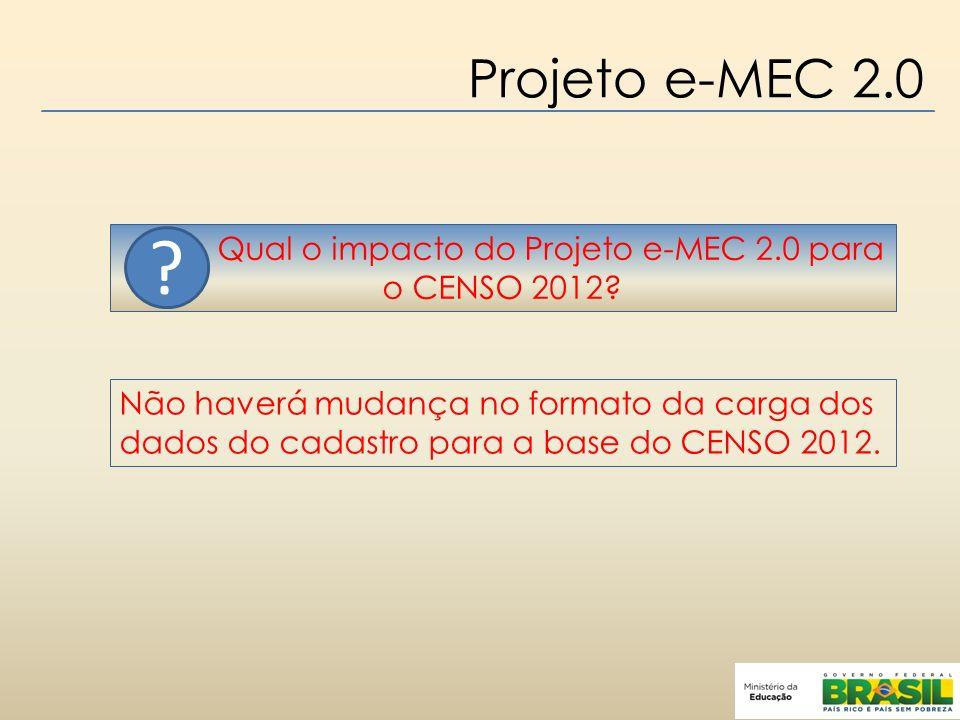 Qual o impacto do Projeto e-MEC 2.0 para o CENSO 2012