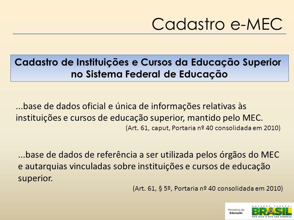 Cadastro e-MEC Cadastro de Instituições e Cursos da Educação Superior