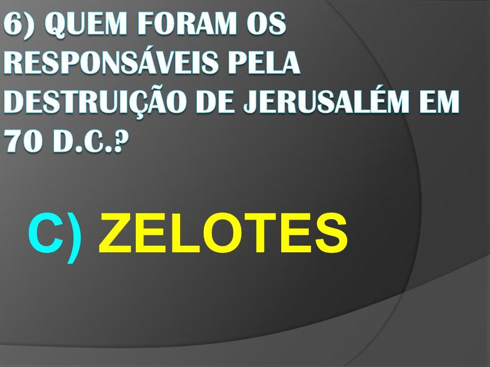 6) QUEM FORAM OS RESPONSÁVEIS PELA DESTRUIÇÃO DE JERUSALÉM EM 70 D.C.