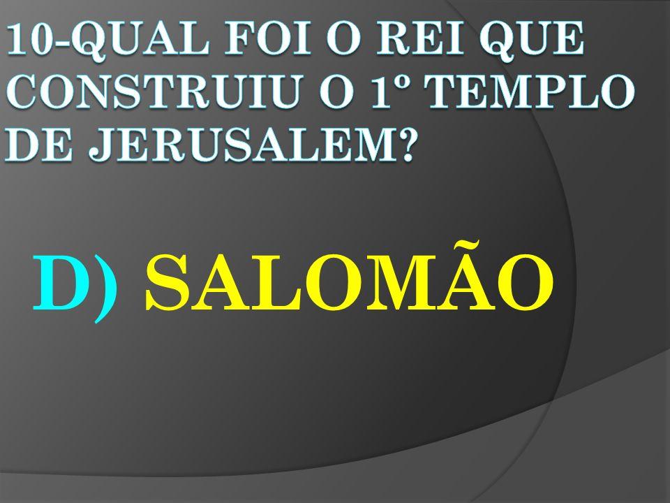 10-QUAL FOI O REI QUE CONSTRUIU O 1º TEMPLO DE JERUSALEM