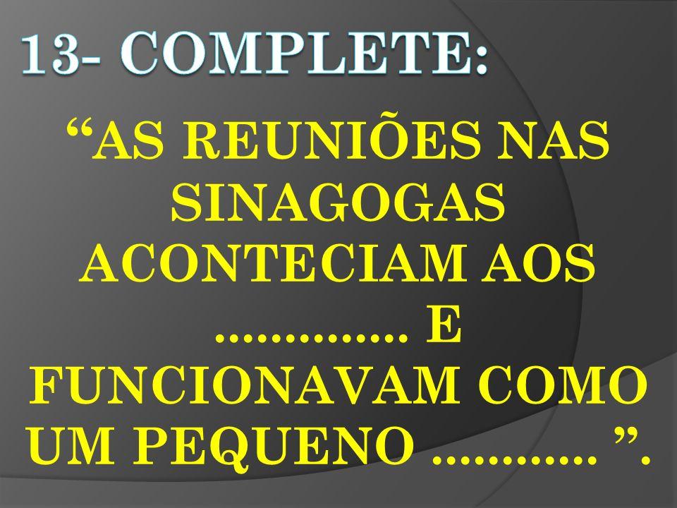 13- completE: AS REUNIÕES NAS SINAGOGAS ACONTECIAM AOS ..............