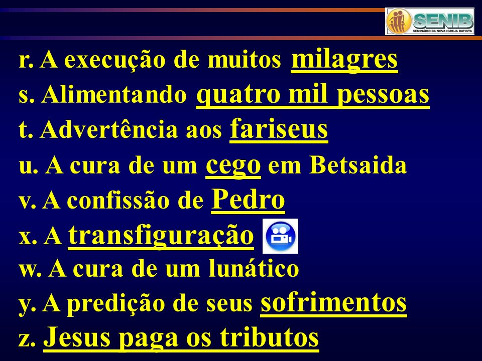 r. A execução de muitos milagres