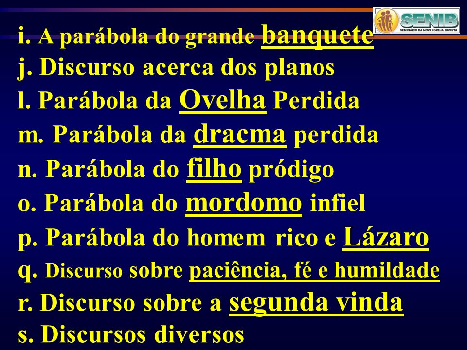 i. A parábola do grande banquete