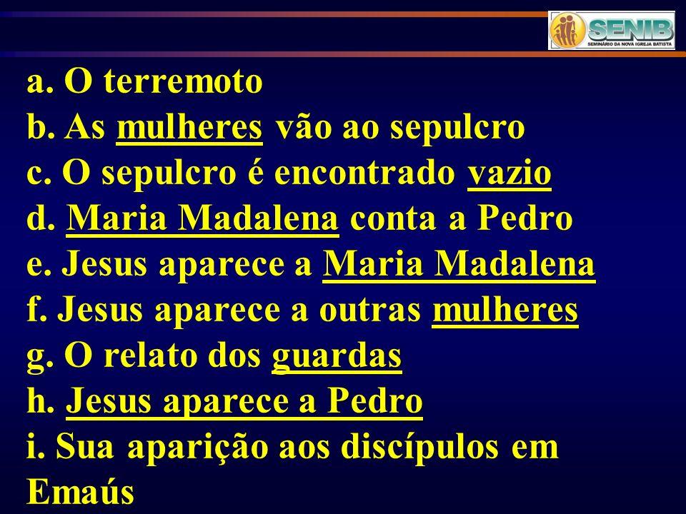 a. O terremoto b. As mulheres vão ao sepulcro. c. O sepulcro é encontrado vazio. d. Maria Madalena conta a Pedro.